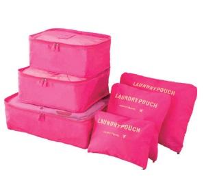 Organizery Podróżne VESPERO - zestaw 6 sztuk - rose red