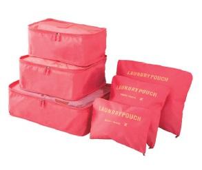 Organizery Podróżne VESPERO - zestaw 6 sztuk - watermelon red